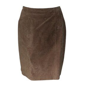 Chia Brown Leather Suede Skirt